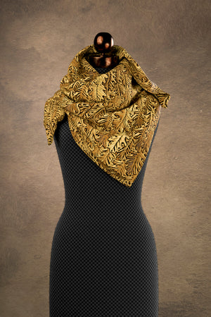 Copper Oak Leaf Square Scarf