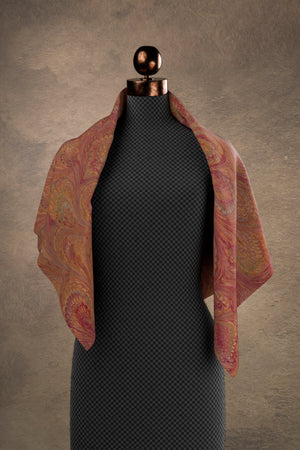 Marbled Peacock Square Scarf: Carmine