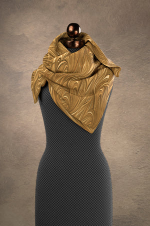Marbled Twill Sepia Square Scarf