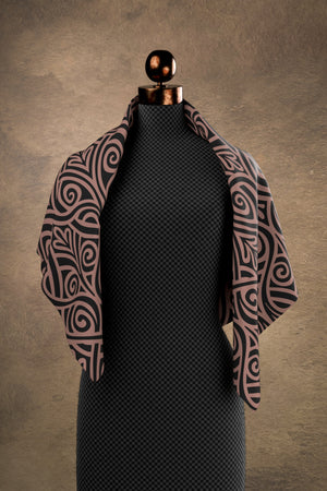 Nouveau Bands Black & Tan Square Scarf
