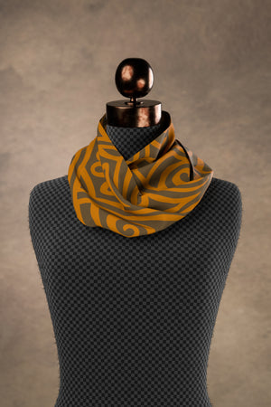 Nouveau Bands Square Scarf: Orange & Walnut
