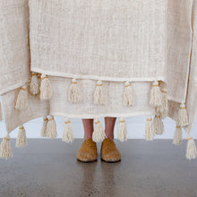 Hand Loomed Cotton Tassel Throw