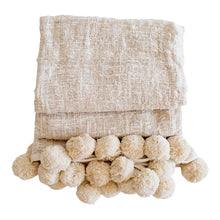 Hand Loomed Cotton Pom Pom Throw