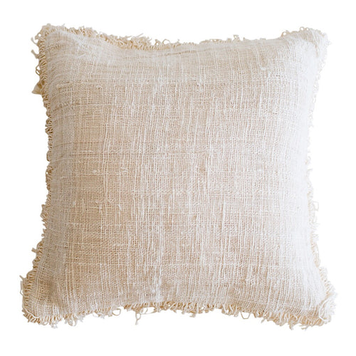 Villa Neutral Cotton Cushion with Fringe