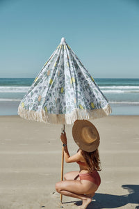 Salty Shadows Beach Umbrella - Native Ash Wood