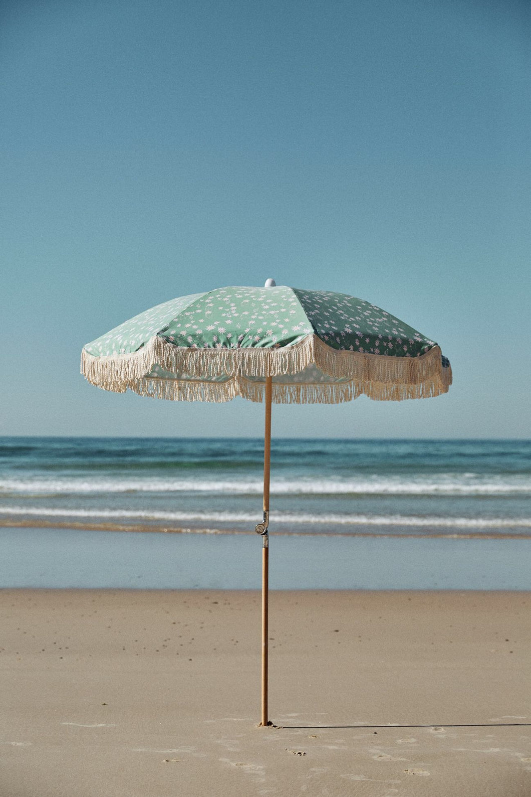 Salty Shadows Beach Umbrella - Flannel Flower Ash Wood