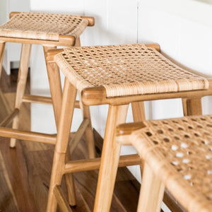 Asri - Teak/Rattan Backless Stool (PRE-ORDER JULY)