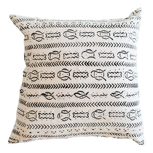 African Mudcloth Cushion Cover - White