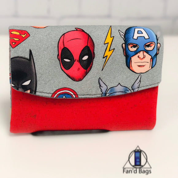 Men of the Comics in Silver Wallet by Fan'd Bags