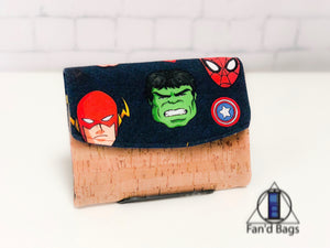 Men of the Comics in Navy Blue Wallet by Fan'd Bags