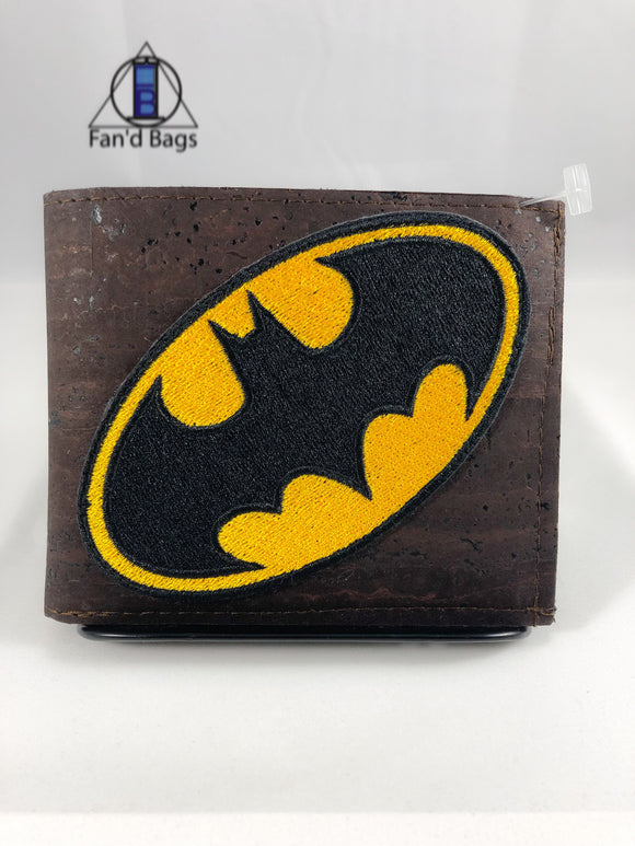 Bat Signal on Brown Cork Bi-fold Wallet