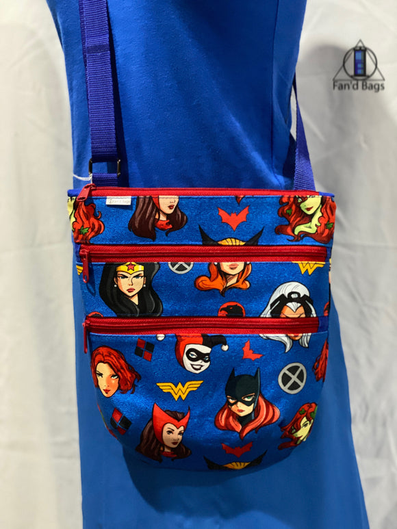 Ladies of Marvel and DC in Blue Cross Body Bag