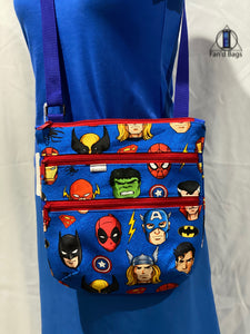Men of Marvel and DC in Blue Cross Body Bag
