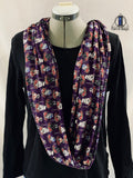 Purple Floral Wars Double Loop Infinity Scarf