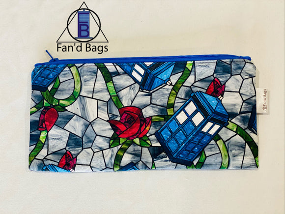 Stained Glass TARDIS Zip Bag