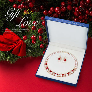 Luxury Jewelry Set with Heart Crystals from Swarovski with Pearls & Rose Gold Necklace with Earrings
