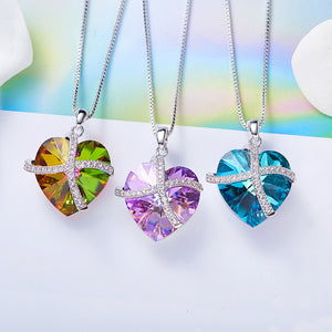 Purple Heart Crystal Swarovski Necklace Pendant