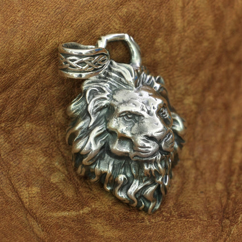 Chunky Sterling Silver King of Lions Pendant