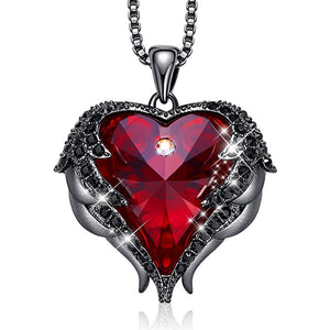 Gothic Black Angel Wing Magical Red Heart Pendant Necklace
