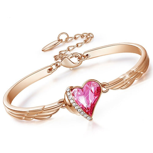Glamorous Winged Heart Bracelet Adjustable Crystal from Swarovski