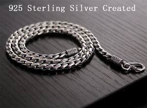 Solid Sterling Silver Vintage Long Chain Necklaces Retro Rock Fashion