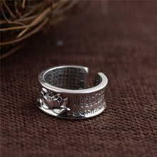 Buddhism Heart Sutra Lotus Floral Ring