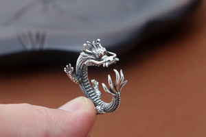 Super Cool Silver Dragon Ring with Blazing Red Eyes