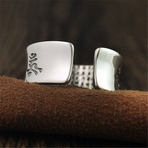 S999 Sterling Silver Men Rings Buddhist Om Mani Padme Hum Heart Sutra Ring For Men's Fine Jewelry Gift