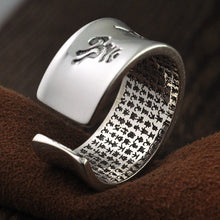 Adjustable Silver Buddhist Om Mani Padme Hum Heart Sutra Ring