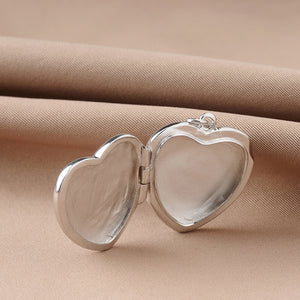 Genuine Sterling Silver Heart Shape Photo Frame Locket Necklace For Women Lovers Gift
