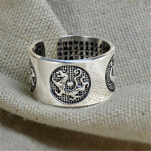 Real Real Thai Silver China Four Mythical Animals Ring For Men 999 Sterling Silver Free Size Rings Bless Lucky Block Evil