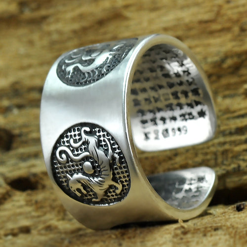 Silver Four Mythical Animals Ring Adjustable Size Rings Bless Lucky