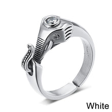 Sterling Silver Jewelry Elephant Ring With Black or White Crystal