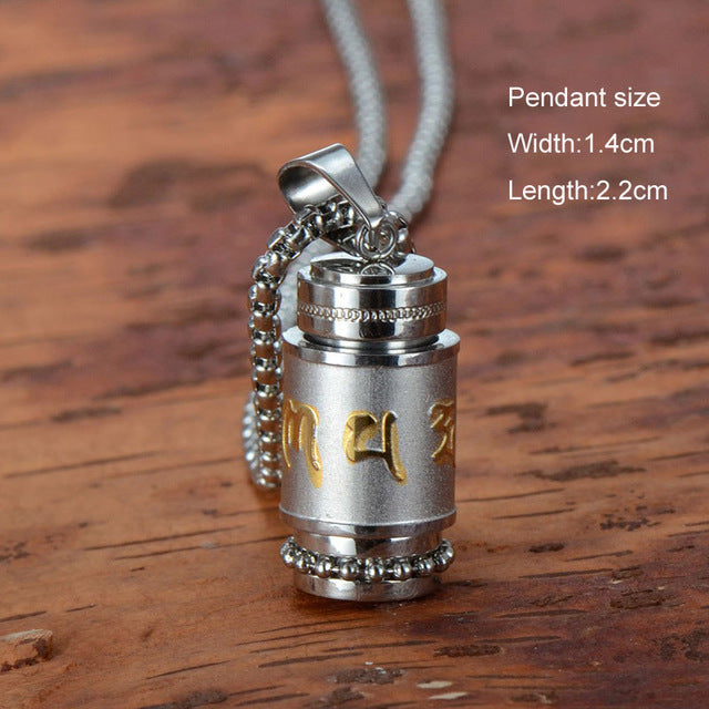 Titanium Steel Buddhism Jewelry Six Words Rotatable Pendant Sanskrit Amulet Charms Locket Necklace