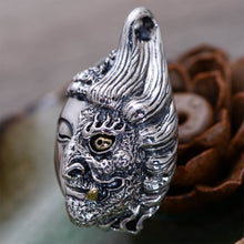 Buddha and Devil Sterling Silver Necklace Pendant