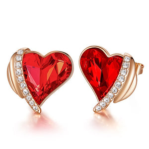 Valentines Heart Swarovski Crystal Stud Earrings Choose Colors