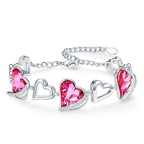 Charming Crystal Heart Romantic Bracelet Bangle