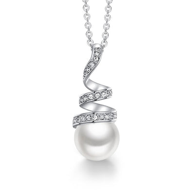 Fancy White Pearl Swirling Pendant Necklace Jewelry
