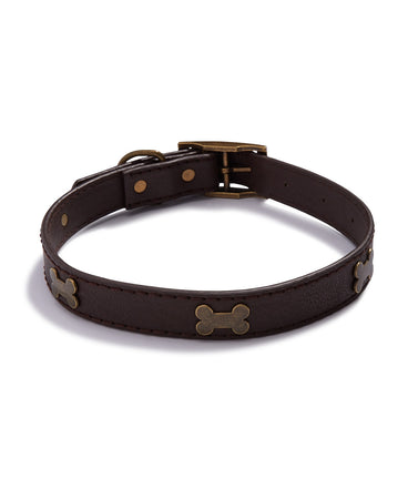 "House Of Barker Brown Leather Stud Collar Large 1"" Brown"