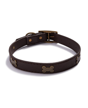 House Of Barker Brown Leather Stud Collar Small  3/4