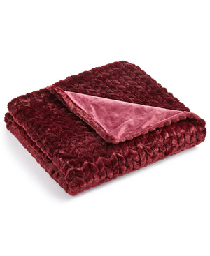 Closeout! Martha Stewart Collection Quilted Fauxfur Throw  Merlot