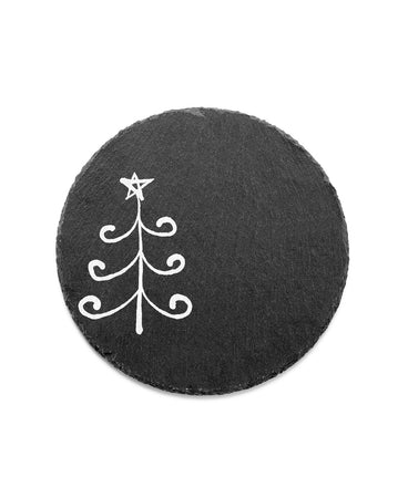 Merry And Bright Curly Tree Round Slate Trivet