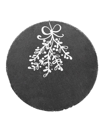 Merry And Bright Mistletoe Round Slate Trivet