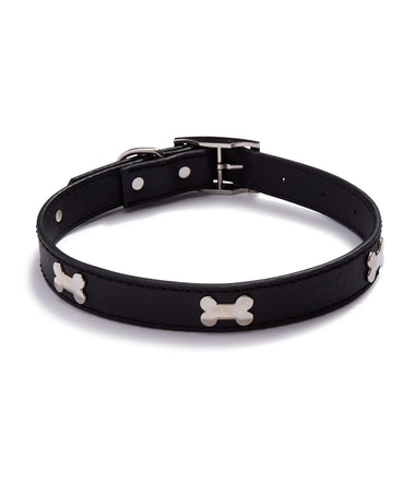 "House Of Barker Black Leather Stud Collar Small  3/4"" Black"