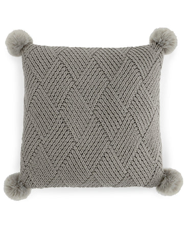 Martha Stewart Basketweave Pom Pom Decorative Pillow Buckle Grey 20x20