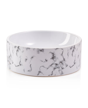 Pet White Marble And Embossed Bowl Brown