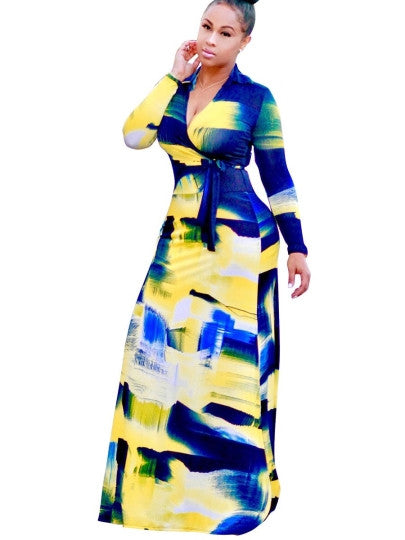 V Neck Graffiti Women's Maxi Dress