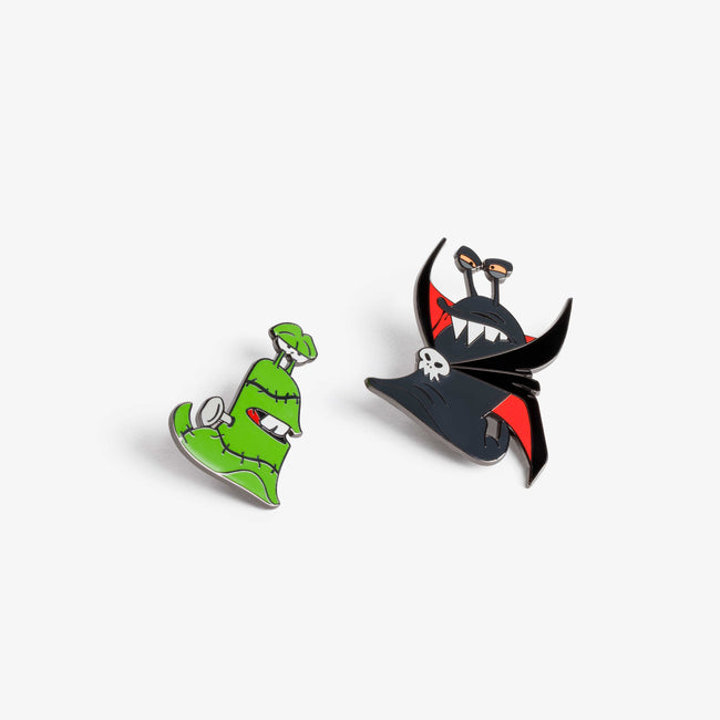 Best Fiends Frankenstein Slug and Dracula Slug enamel decorative pins