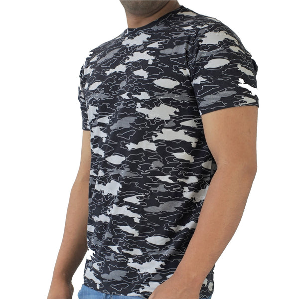 Black Camo Pima Cotton Crew Lounge Tee