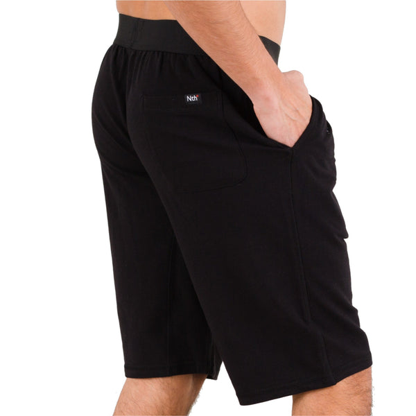 Black Pima Cotton Terry Lounge Shorts